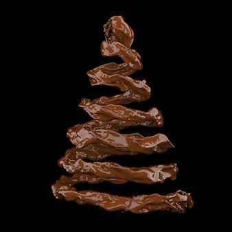 Concept de chocolat sur fond noir rendu 3d
