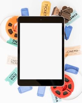 Concept de cinéma avec tablette