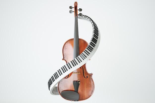 Concept de clés de violon et piaone vieilli. rendu 3d de haute qualité