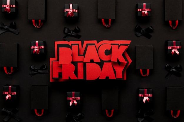 Concept de coffrets cadeaux vendredi noir