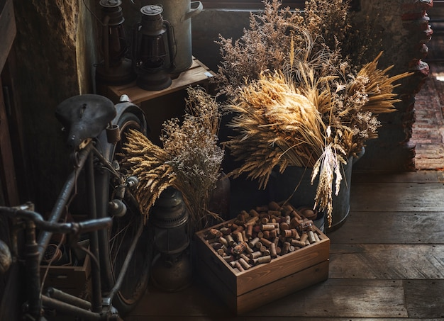 Concept de collectionneur de vélos old lantern collection vintage