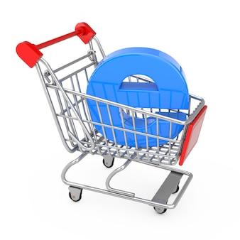 Concept de commerce électronique. chariot de panier d'achat avec la lettre bleue e comme commerce électronique sur un fond blanc. rendu 3d