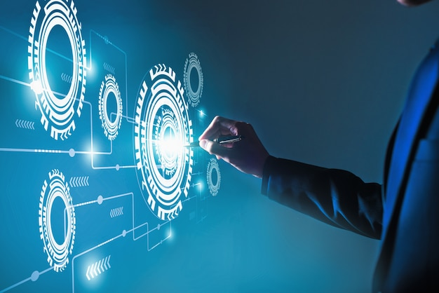 Concept commercial de système de processus de logiciel d'automatisation, technologie et concept commercial innovant