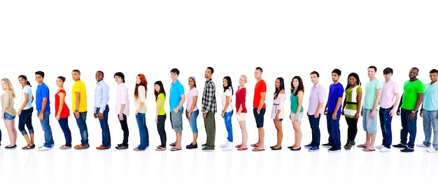 Concept de communication diversité personnes foule amis