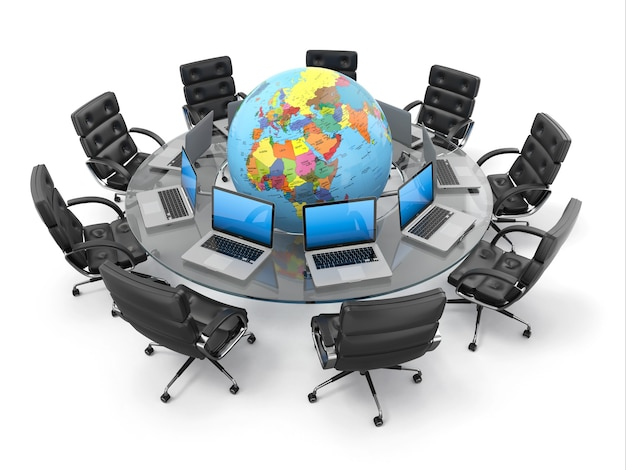 Concept de communication d'entreprise mondiale. 3d