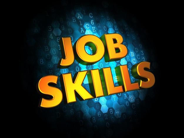Concept de compétences professionnelles - texte de couleur dorée sur fond numérique bleu foncé.