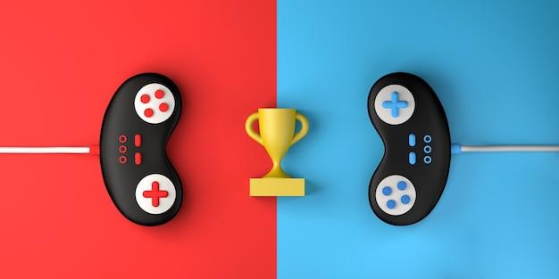 Concept de compétition de jeux vidéo avec manette de jeu et prix espace de copie de jeu illustration 3d