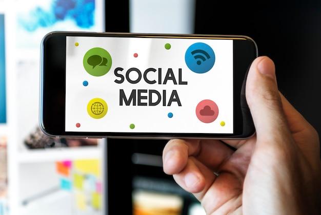 Concept de connexion de communication de médias sociaux