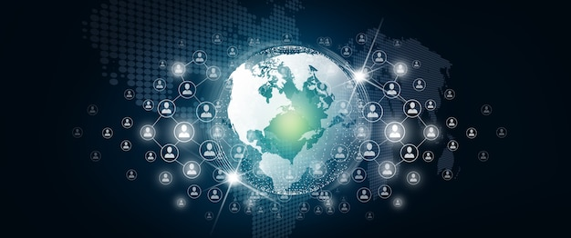 Concept de connexion de personnes et de réseau d'affaires du monde connexion globale avec des personnes de connexion