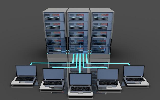 Concept de connexion de serveur portable 3d. illustration 3d