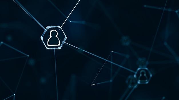 Concept de connexions de réseau social. réseau d'icônes de personnes avec des lignes de connexion.