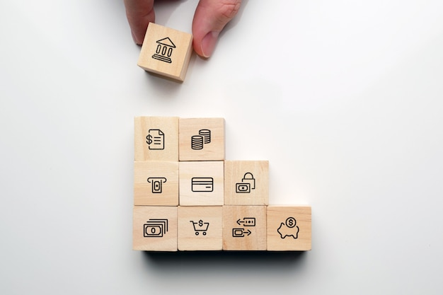 Le concept de construction d'un système bancaire et de services.