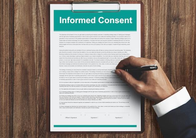 Concept de consultation d'accord de chirurgie de consentement éclairé