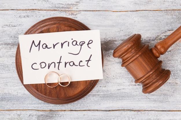 Concept de contrat de mariage.