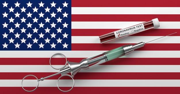 Concept de coronavirus aux etats-unis. seringue avec vaccin et test positif pour le coronavirus 2019-ncov sur le drapeau des états-unis. rendu 3d.