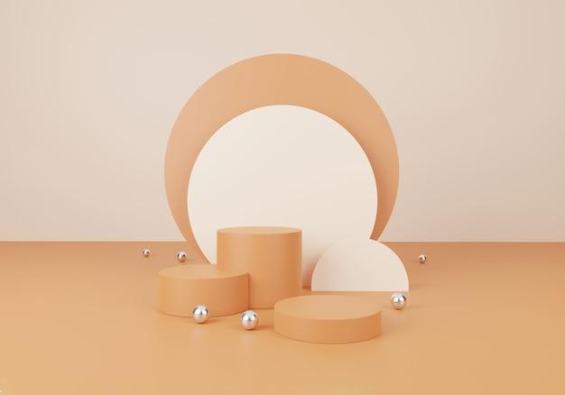 Concept cosmétique et alimentaire. scène minimale avec des formes géométriques. affichage de podium de cylindre