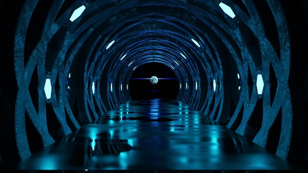 Concept de couloir futuriste avec néons bleus résumé fond sombre rendu 3d