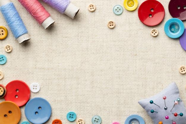Concept de couture vue de dessus avec fil