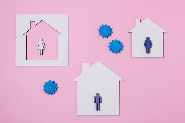 Concept covid avec des formes de maison