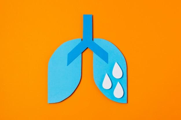 Concept de covid avec poumons en papier
