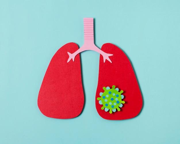 Concept de covid avec poumons rouges