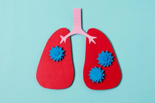 Concept de covid avec vue de dessus de poumons rouges
