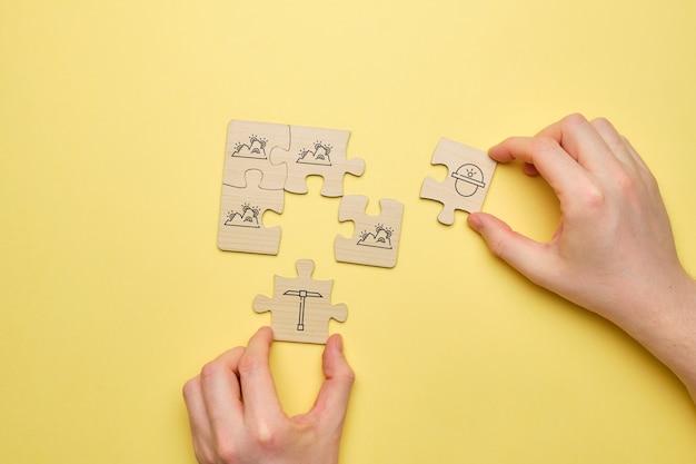 Le concept de création de grandes fermes informatiques pour l'extraction de crypto-monnaies à partir d'icônes avec un puzzle.