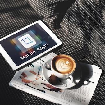 Concept de créativité d'illustrateur de conception d'applications mobiles