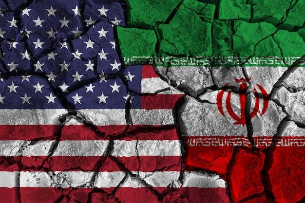 Concept de crise et de conflit entre l'amérique et l'iran