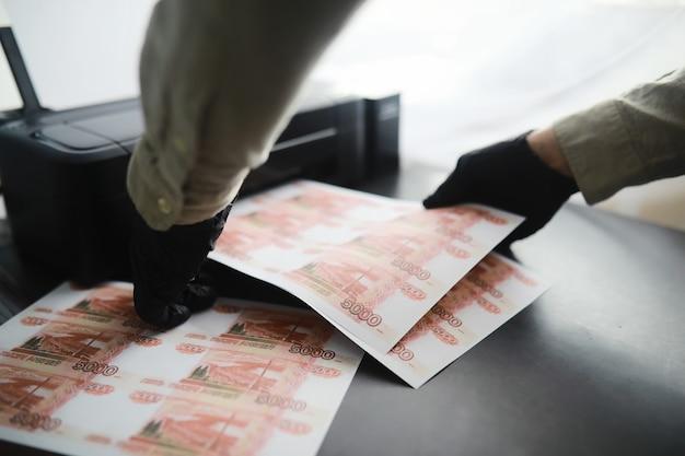 Le concept de la crise économique mondiale. production illégale d'argent, l'inscription sur la facture