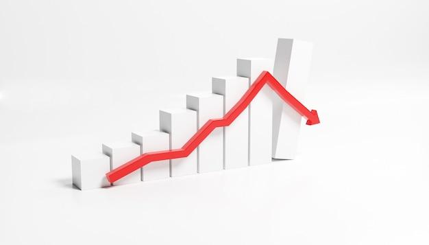 Concept de crise économique. répartis dans le monde, l'économie est en baisse. illustration 3d