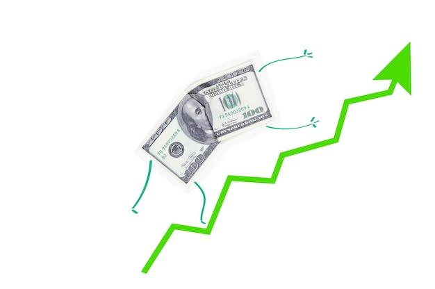 Concept de croissance du dollar à la bourse, flèche verte vers le haut et un billet de cent dollars qui monte sur un fond blanc isolé
