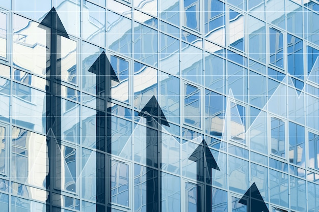 Concept de croissance d'entreprise avec des flèches se bouchent.