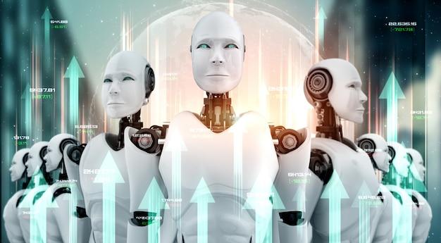 Concept de croissance de l'entreprise en utilisant un robot ai et une technologie d'apprentissage automatique