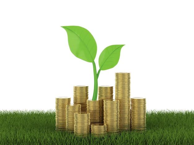 Concept de croissance financière avec pile de rendu 3d de pièces d'or avec des feuilles vertes