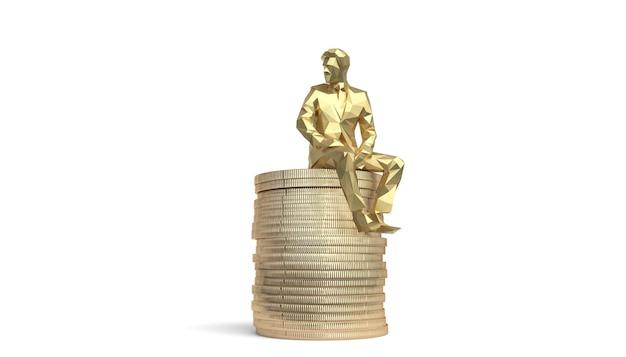 Concept de croissance des investissements financiers sur le marché boursier avec des pièces de monnaie et un courtier. illustration 3d.