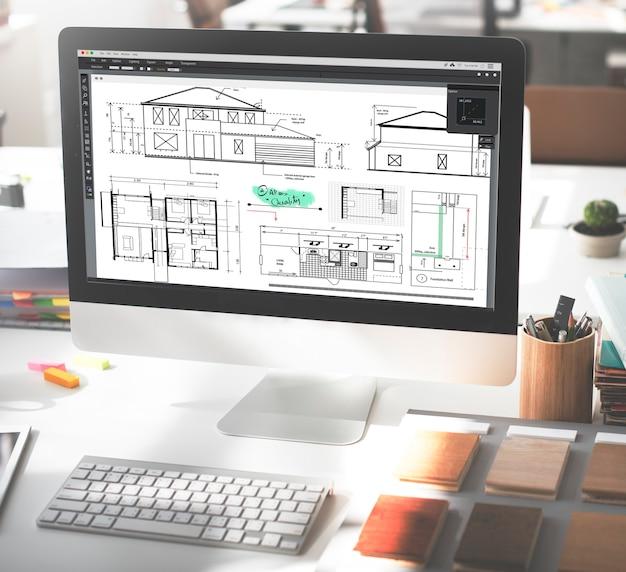 Concept de croquis de projet de construction d'architecte de plan