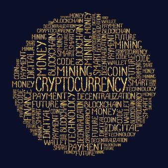Concept de crypto-monnaie dans le nuage de cercle de balises