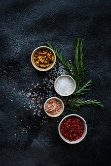 Concept de cuisine aux épices avec sel de mer