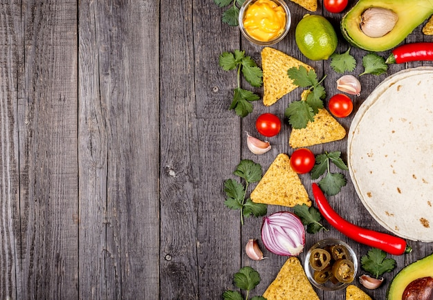 Concept de cuisine mexicaine copie espace vue de dessus