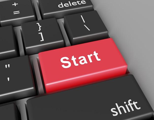 Concept de début word start sur le bouton du clavier de l'ordinateur