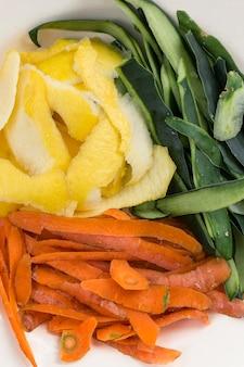 Concept de déchets alimentaires vue de dessus
