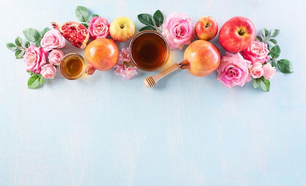 Concept de décoration de rosh hashanah pour les vacances du nouvel an juif