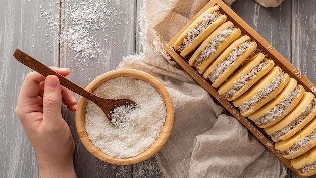 Concept de délicieux biscuits alfajores