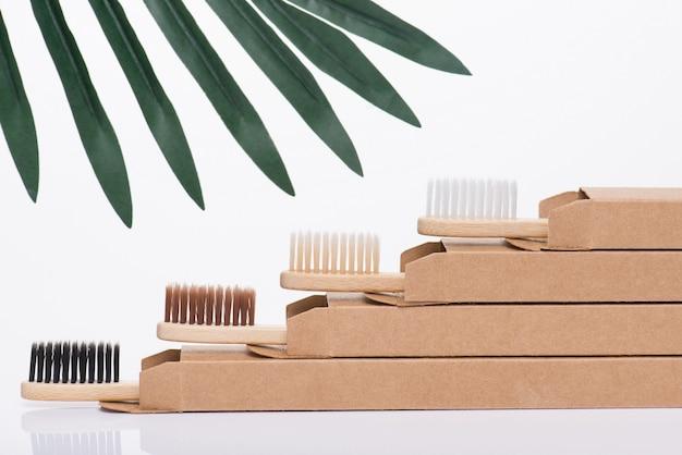Concept de dentisterie zéro déchet. vue de profil de côté en gros plan photo de brosses à dents fraîches modernes et respectueuses de l'environnement dans un emballage isolé sur fond blanc avec quelques feuilles vertes
