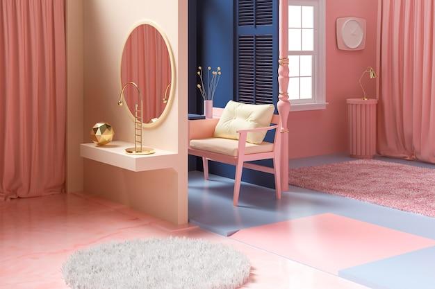 Concept de design d'intérieur de chambre 3d
