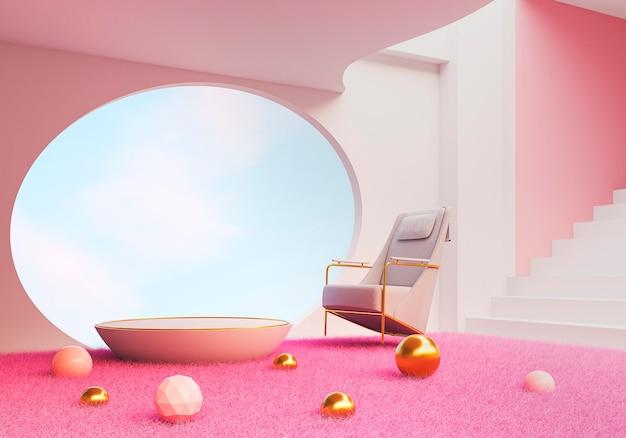 Concept de design d'intérieur de chambre rose 3d