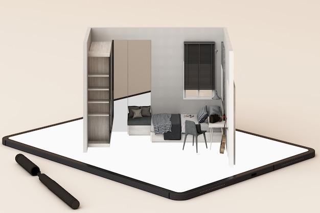 Concept de design d'intérieur: homme d'affaires avec une tablette avec une application de design d'intérieur à l'écran. rendu 3d