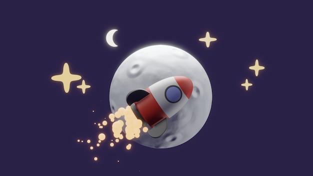 Un concept de dessin animé de fusée autour de la lune