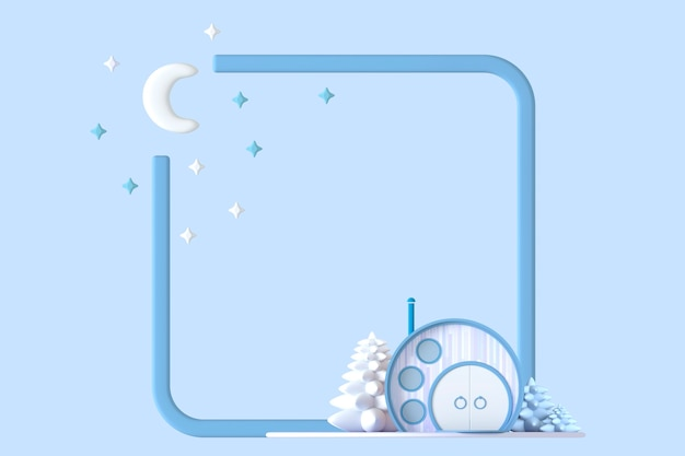 Concept de dessin animé rond abstrait petite maison dans des couleurs pastel sur un ensemble de plantes sur le fond de la bordure du cadre carré avec une image stylisée de la lune et des étoiles.3d illustration